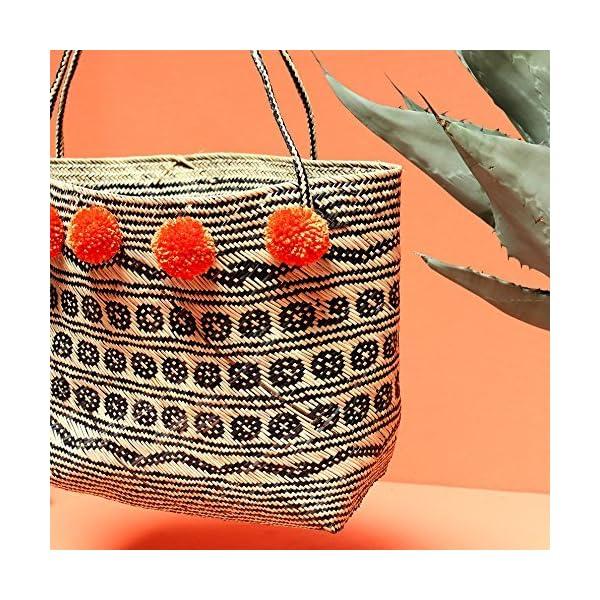 Borneo Medio Pom-pom Tote Bag - Hand Bag with Ginger Orange Pom-poms - Christmas Gift - handmade-bags