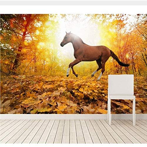 Meaosy Benutzerdefinierte Wandbilder 3D, Pferde Autumn Run Laub Tiere Tapeten, Wohnzimmer Sofa Tv Wand Schlafzimmer 3D Tapete-280X200Cm