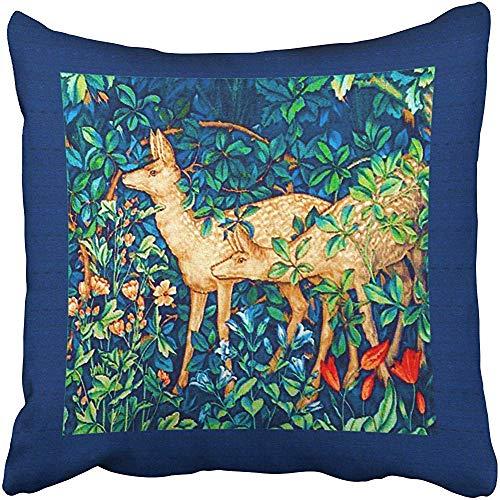 William Cotton Tapestry (Dekorative Kissenhülle Kissenbezugs William Morris Forest Deer Tapestry Print Pillowcases Polyester 45 x 45 cm Square with Hidden Zipper Home Sofa Cushion Decorative Pillowcase)