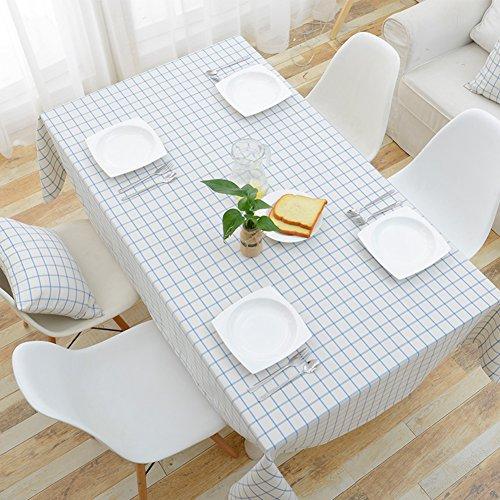 LJ&XJ Imperméable à l'eau de nappes pour les tables rectangle,Treillis blanc noir coton moderne simple linge de table housse pour table à manger pique-nique résistant aux tache -B 120x160cm(47x63inch)