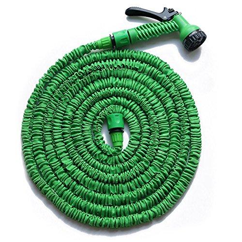 HENGMEI 22.5m Flexibler Gartenschlauch Wasserschlauch FlexiSchlauch Dehnbarer Schlauch Garten Handbrause mit 7 Multifunktions Sprühkopf (Grün, 22.5)