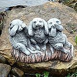 3Wise suricates Speak voir NE RIEN entendre de jardin Effet pierre Statue Décor Cadeau