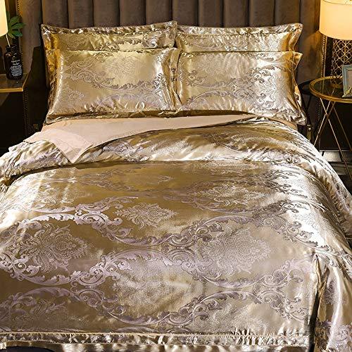 QIN Satin Cotton Jacquard Paisley Bettwäsche-Sets beinhalten 1 Bettbezug 1 flaches Blatt 2 Kissenbezüge Zarte Blumenmuster,C,1.5~1.8M - Paisley-satin-kissenbezug