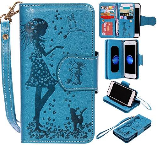 iPhone Case Cover Gepresste Blumen Geprägte Mädchen und Katzen-Muster PU-Leder-Kasten-Abdeckung mit Handschlaufe und 9-Karten-Slot-Foto-Rahmen für IPhone 7 4.7 Zoll ( Color : Gold , Size : IPhone 7 4. Blue