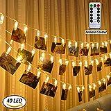 Catenina con luci LED e clip per foto, Anyos, 40 clip per foto, telecomando da 5 m, portafoto a luce regolabile, lampade stellate con 8 modalità, per appendere foto, cartoline, biglietti, bianco caldo