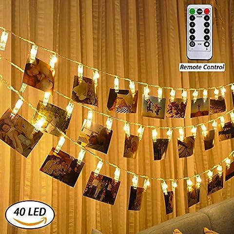 LED-Foto-Clips Lichterketten, Anyos 40 Photo Clips 5M Fernbedienung Batteriebetriebene Dimmbare Foto-Display Starry Lampe mit 8 Modi, für Hang Pictures Karten Notizen, Warm White