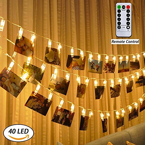 LED-Foto-Clips Lichterketten, Anyos 40 Photo Clips 5M Fernbedienung Batteriebetriebene Dimmbare Foto-Display Starry Lampe mit 8 Modi, für Hang Pictures Karten Notizen, Warm White