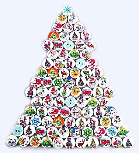 Tfxwerws lovely misto 15�mm rotondo bottoni in legno di Natale (modello casuale)