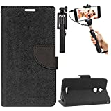 DMG Diary PU Leather Flip Cover Wallet Stand Case for Coolpad Note 3 Lite (Black) + Selfie Stick Monopod with Aux (No Battery Needed)