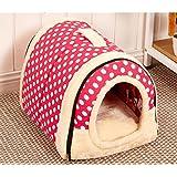 LA VIE Hochwertig Hundebett 2-in-1 Faltbare Haustier Haus & Sofa Tragbar Hundehütte Katzenbett Gemütlich Plüsch Hundehöhle Kennel für Hunde Katzen Welpen Kleine Haustiere Rosa S