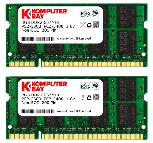 Komputerbay J27 Arbeitsspeicher 6GB Kit (4GB und 2GB Module, PC2-5300, 667MHz, 200-polig) DDR2-SODIMM für HP Compaq Presario -