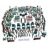 MagiDeal 307 Pieces Army Men Playset 4cm Soldier Action Figures with Tanks Planes Flags & More Accessories