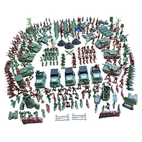 MagiDeal 307 / 519 Stück Kunststoff Soldat 4cm Armee Figuren mit Zubehör Spielset für Armee Sand Szene Modell - 307 Pcs/Set
