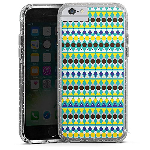 Apple iPhone 7 Bumper Hülle Bumper Case Glitzer Hülle Triangles Dreiecke Tribal Bumper Case Glitzer silber