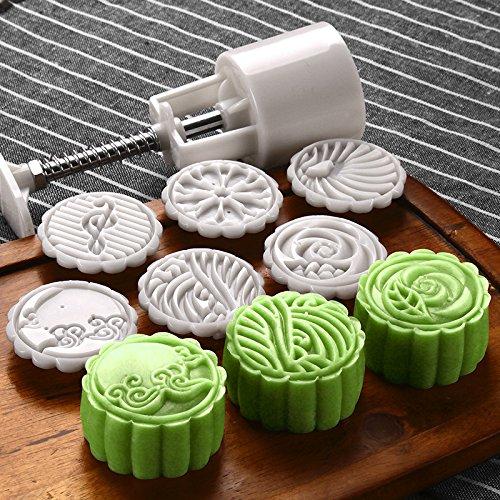LOUTY 50g Cookie Presse Briefmarken Cutter Kuchen Mond Kuchenform mit 6 Briefmarken DIY Dekoration für Mitte Herbst Festival Geburtstag Wochenende Urlaub Jahrestag (Cookie-presse)