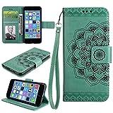 COWX iPhone 5S Hülle Kunstleder Tasche Flip im Bookstyle Klapphülle mit Weiche Silikon Handyhalter PU Lederhülle für Apple iPhone 5S 5 SE Tasche Brieftasche Schutzhülle für iPhone 5 schutzhülle