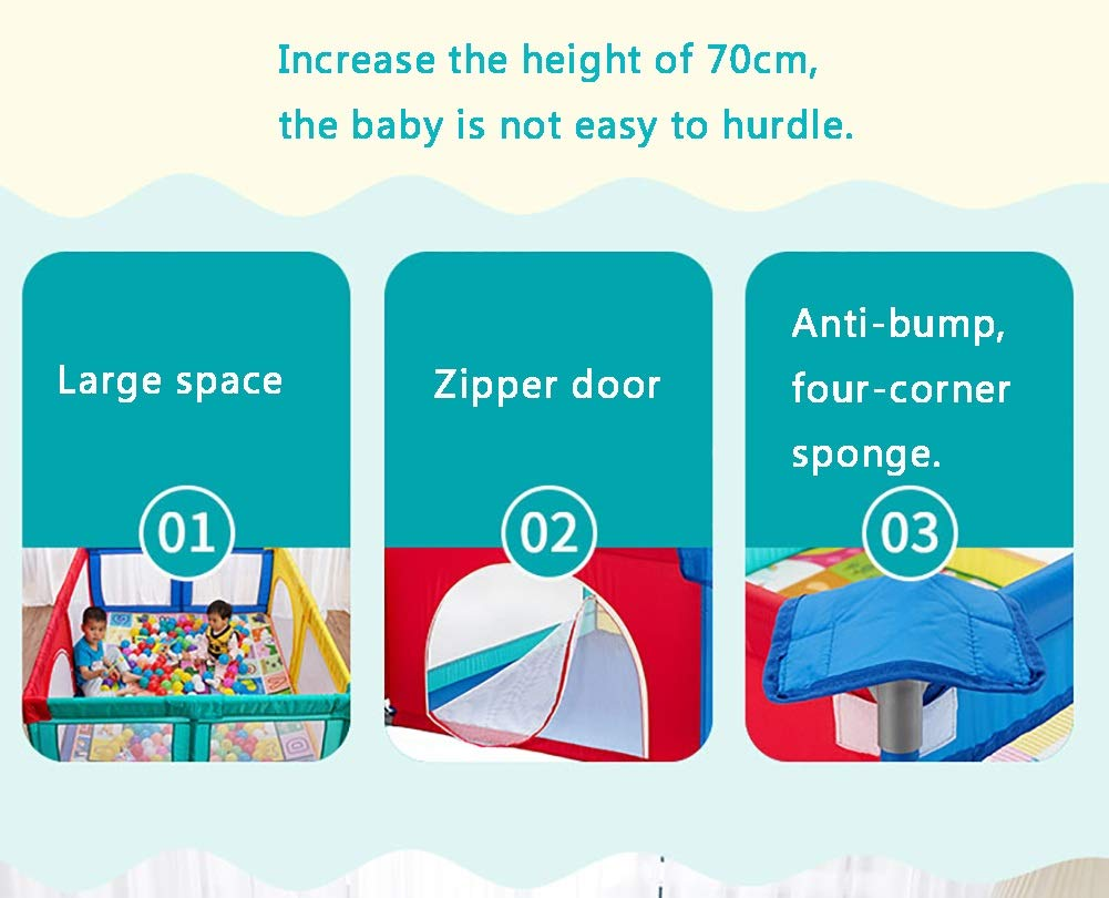Playpen Extra Large Baby with Mat, Toddler Portable Playard Children's Game Fence, 200x250x70cm (Color : Style2) Playpen  8