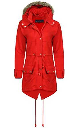 Womens red parka coat uk