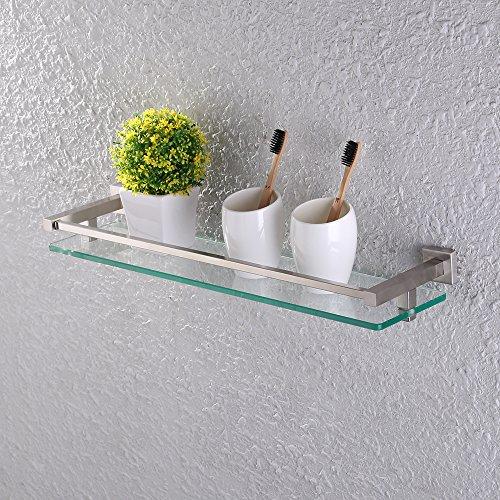 Kes bagno mensola in vetro parete doccia mensola caddy temperato vetro e spazzolato sus 304 inox acciaio montaggio a parete, bgs2300a-2