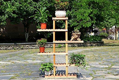 Porte Plante Présentoir de fleur de plantes en bois Support de tablette en bois Pot Atterrissage intérieur extérieur Support de pots multi-couche Étagères à fleurs ( Couleur : Carbon roasted color , taille : 125cm )