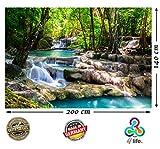 Fototapete Wasserfall im Wald Natur HD XXL Foto-Tapete 200cm x 140cm aus 2 Teile Hochauflösende Wanddekoration Wandtapete | Fotoposter Landschaft Bäume Wasser | (200 cm x 140 cm)