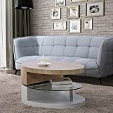 UEnjoy Modern Design Coffee Table with Glass Swivel Living Room Furniture (Natural & White)