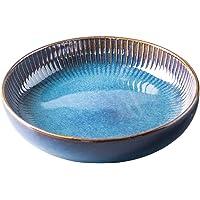 21cm Assiette Creuse,Assiette à Saladier en Céramique, assiettes à dîner, bleu