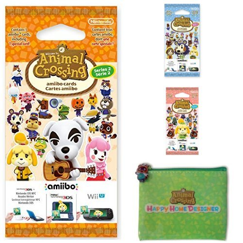 Pack 3 paquets de 3 cartes Animal Crossing (séries 2, 3, 4) + Pochette de rangement