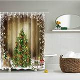 Haodasi Weihnachten Winter Snowkids Duschvorhänge 180x180cm Mehltau beständig Stoff Duschvorhang wasserdicht / wassera