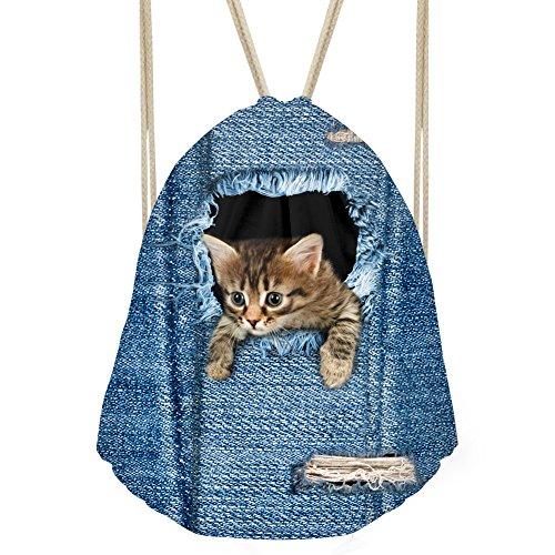 enim Katze Hund Kordelzug Rucksack Kinder Erwachsene Saite Sack Tasche M animal 1 ()