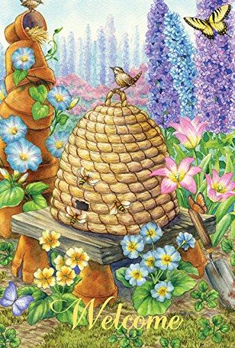 Toland Home Garden Welcome Bienenenstock 31,8 x 45,7 cm Dekorative Frühling/Sommer Blumen Schmetterling Willkommen Garten Flagge -