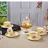 Keramik Glas Teekanne Teacup Set beheizbare Duft Tee Set Geschenk 10 Stück (Farbe : Yellow A)