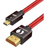 LinkinPerk Micro HDMI till HDMI-kabel, rankie höghastighets-HDMI till Micro HDMI HDTV-kabel – stöder Ethernet, 3D, 4K och lju