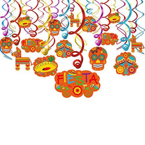 Howaf Mexikanische Fiesta Hängedekoration Spiral Girlanden für Fiesta Cinco de Mayo Hochzeit Geburtstag Party Dekoration, 30 Teilig Set (De Mayo Cinco Party-dekorationen)