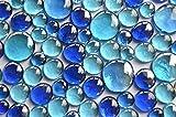 Bazare Masud e.K. 350g Glasnuggets Blaumix in 3 Versch. Größen 12-15mm, 17-21mm und 26-33 mm, ca. 81 Stück Dekosteine Glassteine, Muggelsteine