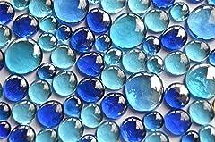 Idea Regalo - 350G Pepite di vetro blu mix 3tenendo. Misure 13-33mm, ca. 81pezzi decorazione pietre di vetro, pietre, muggel pietre