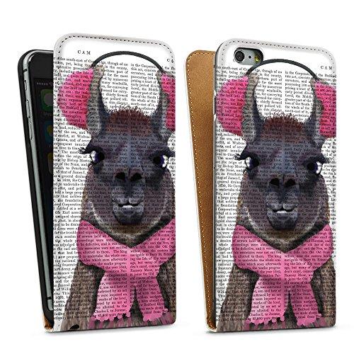 artboxONE Premium-Handyhülle iPhone 6 Plus / 6s Plus Lady Lama - Tiere - Smartphone Case mit Kunstdruck hochwertiges Handycover kreatives Design Cover von FabFunky Downflip Case weiß