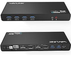 WAVLINK USB C&3.0 Ultra 5K Docking Station HD Dual Video Multifunción Display con USB-C in,2x5K DP Puertos y 2x4K HDMI Puerto