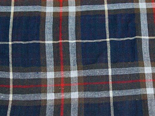 Mischgewebe Baumwolle & Wolle Tartan Check Voile Kleid Stoff marineblau & Braun–Meterware