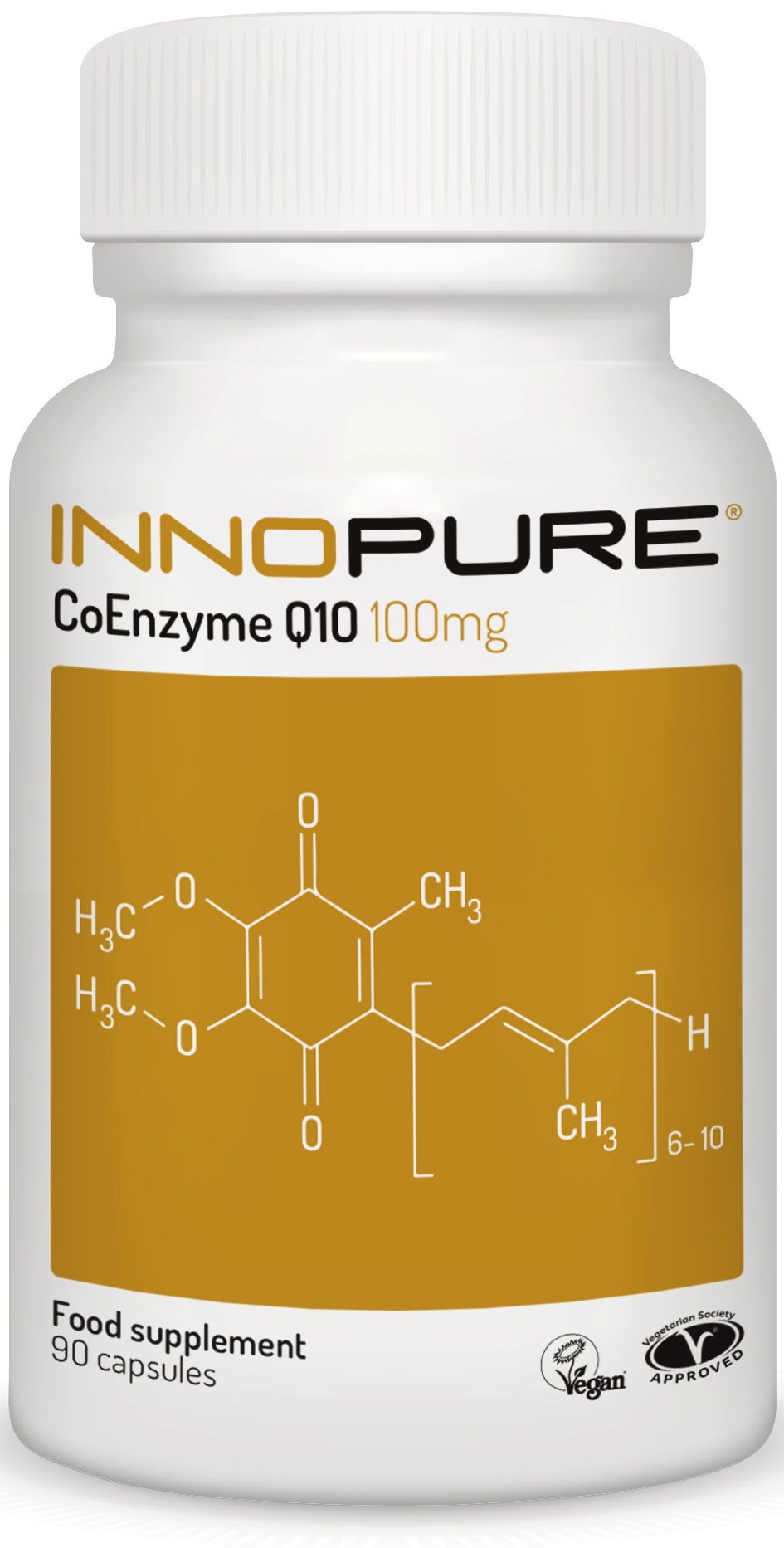 61D5h7lt5WL - CoQ10 Pure Coenzyme Q10 100mg, Naturally Fermented, Vegan Society Approved, 90 Capsules, Made in The UK by Innopure