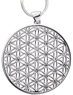 Anhänger Lebensblume Amulett Blume des Lebens 925er Silber Schmuck rhodiniert Harmonie mit 1,2mm Schlangenkette...
