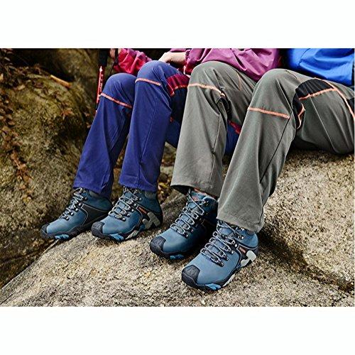 Suetar Scarpe da Trekking Uomo/Donna in Pelle Più Cotone Scarpe da Trekking Antiscivolo Impermeabili Autunno e Inverno Moda Scarpe Sportive allaperto Blue