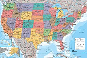 Posters: Cartes Poster - Carte Géographique Des États-Unis, En Anglais (91 x 61 cm)