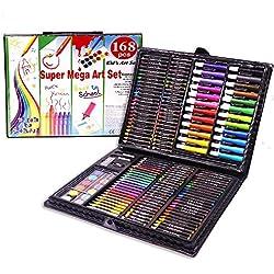 Trayosin 168 TLG Malset, Zeichenset für Kinder-inkl. Wachsmalstifte, Wasserfarben, Pastelle, Filzstifte, Radierer für Junge Mädchen Geschenke