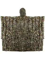 Zicac poncho camouflage avec feuilles 3D cape militaire CS taille unique pour chasse photographie