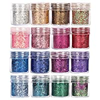 GOTONE Holographic Nail Glitters Chunky Glitters, Sequins Iridescent Flakes Colorful Mixed Paillette Festival Glitter for Makeup Face Body Hair Nail Art Decoration(10ml each)