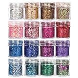 GOTONE 8 Colori Set di polvere glitter per unghie, Glitter Cosmetici per 3D Corpo Decorazioni Brillanti Lustrini Olografici per Nail Arte Viso Capelli Labbra Ombretto Trucco Feste(SET E)