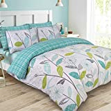 Dreamscene–lujo–Juego de cama con funda de almohada, poliéster/algodón, verde azulado, SINGLE
