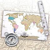 Scratch Off World Map - Weltkarte zum Rubbeln - Rubbel Landkarte Deluxe in XXL
