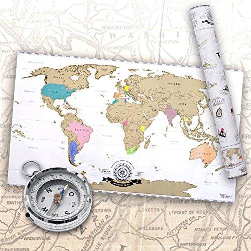 Preisvergleich Produktbild Scrape Off World Map - Weltkarte zum Rubbeln - Rubbel Landkarte Deluxe Poster XXL